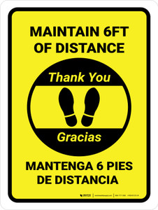 Maintain 6 Feet Distance - Thank you! Bilingual Portrait - Wall Sign
