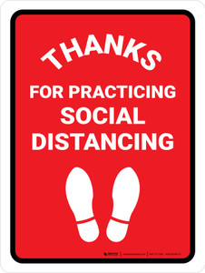 Thanks For Practicing Social Distancing with Icon Portrait - Wall Sign