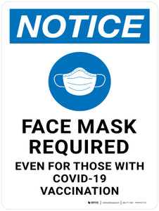 Notice: Face Mask Required Even for Those With Covid-19 Vaccination with Graphic Portrait - Wall Sign