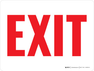 Exit Red Text Landscape - Wall Sign
