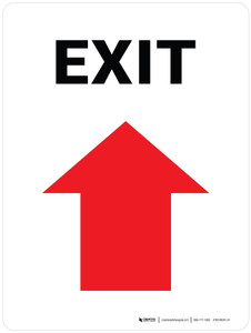 Exit with Arrow Up Portrait - Wall Sign