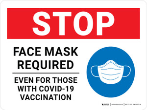 Stop: Face Mask Required Even For Those With Covid-19 Vaccination with Icon Landscape - Wall Sign