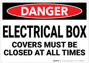 Danger: Electrical Box Covers Must Be Closed - Wall Sign