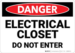 Danger: Electrical Closet Do Not Enter - Wall Sign