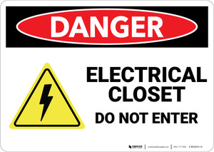 Danger: Electrical Closet Do Not Enter With Graphic - Wall Sign