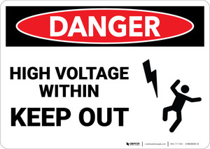 Danger: Enclosure Must Not Be Entered Contains High Voltage  - Wall Sign