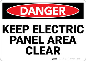 Danger: Keep Electric Panel Area Clear - Wall Sign