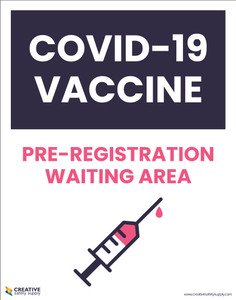 Covid-19 Vaccine Pre-Registration Waiting Area Red - Poster