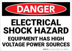 Danger: Electrical Shock Hazard High Voltage Power Sources - Wall Sign