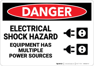 Danger: Electrical Shock Multiple Power Sources Equipment - Wall Sign