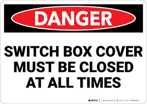 Danger: Electrical Switch Box Covers Closed - Wall Sign