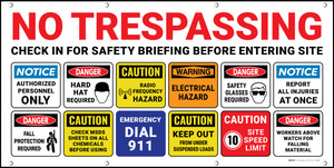 No Trespassing/Check in For Safety Briefing Before Entering Site - Banner
