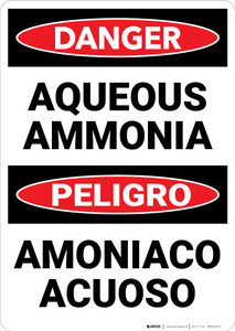 Danger: Aqueous Ammonia Bilingual - Wall Sign
