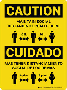 Caution: Maintain Social Distancing From Others - 6 ft Bilingual Portrait - Wall Sign