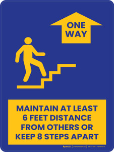 Maintain At Least 6 Feet Distance From Others or Keeps 8 Steps Apart Stairs - One Way Up Portrait - Wall Sign