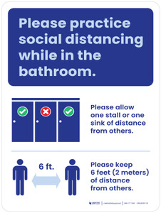 Please Practice Social Distancing While In The Bathroom - Rules Portrait - Wall Sign