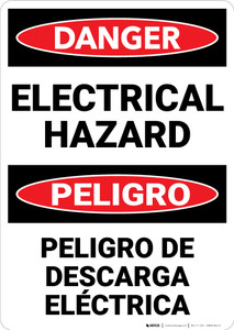 Danger: Danger Electrical Hazard Bilingual - Wall Sign