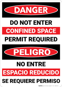 Danger: Do Not Enter Confined Space Bilingual - Wall Sign