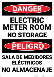 Danger: Electric Meter Room No Storage Bilingual - Wall Sign