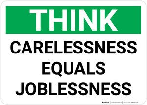 Think: Carelessness Equals Joblessness - Wall Sign