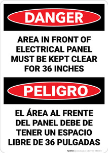 Danger: Keep Electrical Panel Clear Danger Bilingual - Wall Sign
