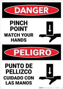 Danger: Pinch Point Watch Hands Bilingual - Wall Sign