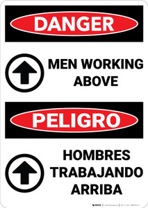 Danger: Men Working Above Bilingual - Wall Sign