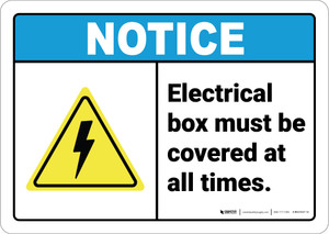 Notice: Electrical Box Must Be Covered At All Times ANSI - Wall Sign