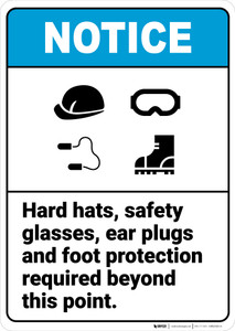 Notice: Hard Hats Safety Glasses Ear Plugs Foot Protection ANSI - Wall Sign
