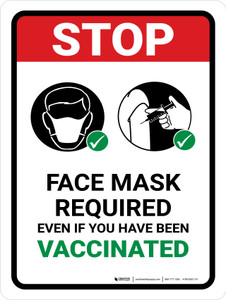 STOP: Face Mask Required Even If You Have Been Vaccinated Portrait - Wall Sign