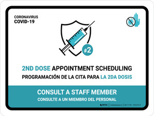 2nd Dose Appointment Scheduling Bilingual Landscape - Wall Sign