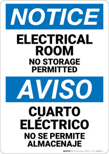 Notice: Electrical Room No Storage Permitted Bilingual Spanish - Wall Sign