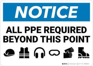 Notice: All PPE Required Beyond This Point - Wall Sign