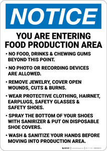 Notice: Food Production Area No Food Wear PPE - Wall Sign