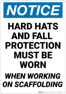 Notice: Hard Hats Fall Protection Required on Scaffold - Wall Sign