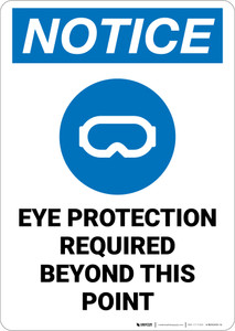 Notice: Eye Protection Required Beyond This Point - Wall Sign