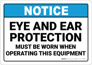 Notice: Eye and Ear Protection When Operating Machines - Wall Sign