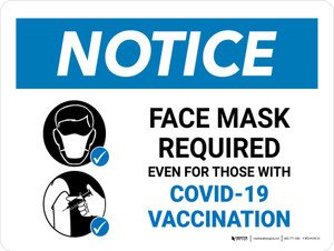 Notice: Face Mask Required Even For Those With Vaccination Landscape - Wall Sign