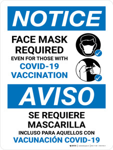 Notice: Bilingual Face Mask Required Even For Those With Vaccination Portrait - Wall Sign