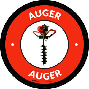 Auger Red Circular - Floor Sign