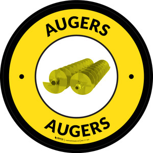 Augers Yellow Circular - Floor Sign