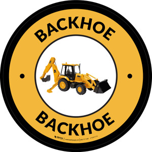 Backhoe Yellow Circular - Floor Sign