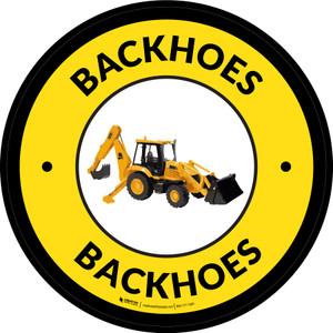 Backhoes Yellow Circular - Floor Sign