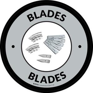 Blades Gray Circular - Floor Sign