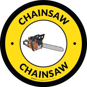 Chainsaw Yellow Circular - Floor Sign