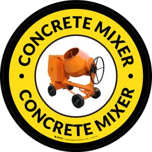 Concrete Mixer Yellow Circular - Floor Sign