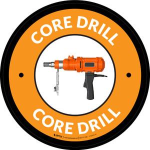 Core Drill Orange Circular - Floor Sign