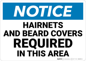 Notice: Hairnets Beard Covers Required in This Area - Wall Sign