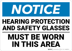 Notice: Hearing Protection Safety Glasses Must Be Worn - Wall Sign