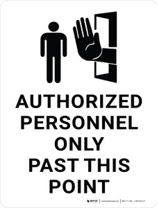 Authorized Personnel Only Past This Point with Black Icon Portrait - Wall Sign